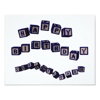 Happy Birthday Christopher toy blocks in blue Card