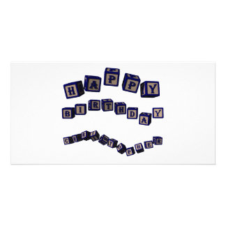 Happy Birthday Christopher toy blocks in blue Personalized Photo Card