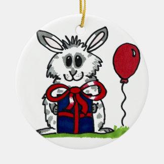 'Happy Birthday!' Chubby Bunny Design Ceramic Ornament
