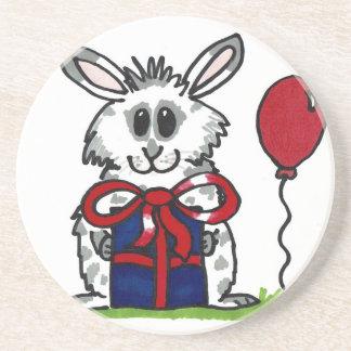 'Happy Birthday!' Chubby Bunny Design Sandstone Coaster