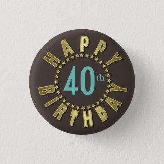 Happy Birthday Circle of Stars Gold GHBX Button
