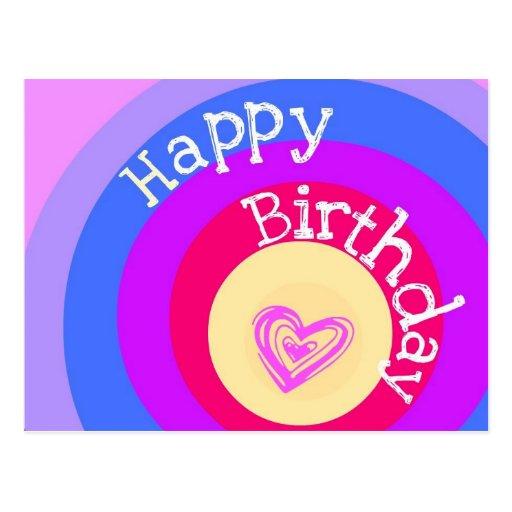 Happy Birthday Circles Postcard