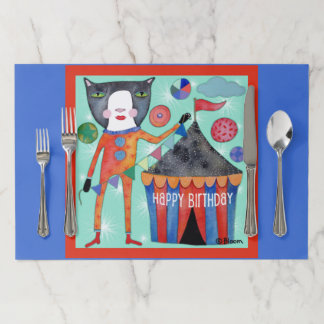 Happy Birthday Circus Cat Tear Away Placemats