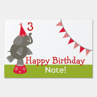 Happy Birthday Circus Sign - Red