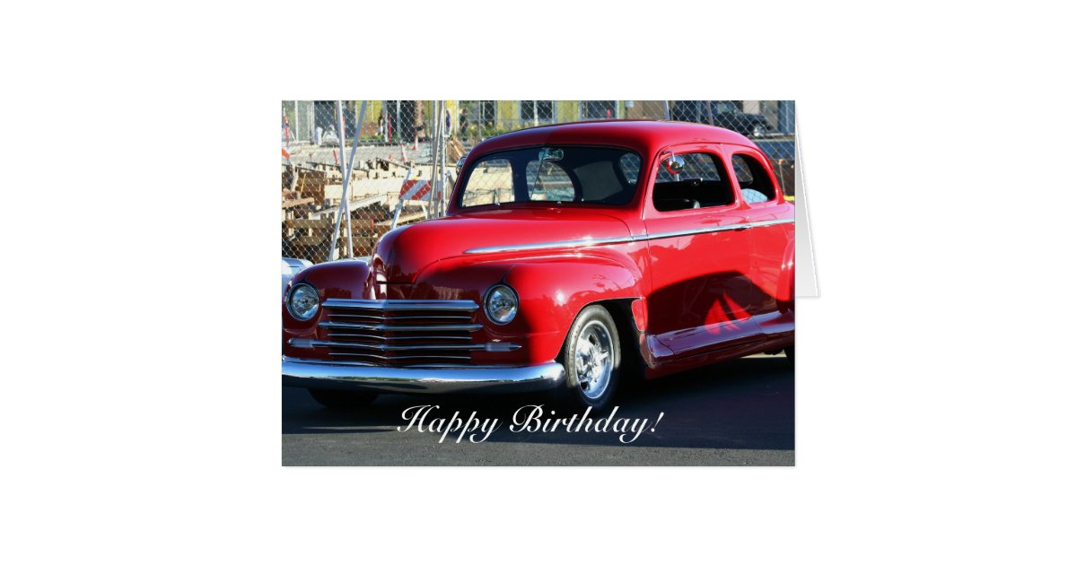 Happy Birthday Classic Car Greeting Card Zazzle