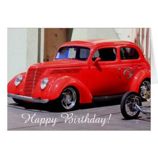 Happy Birthday Classic Red Car greeting card