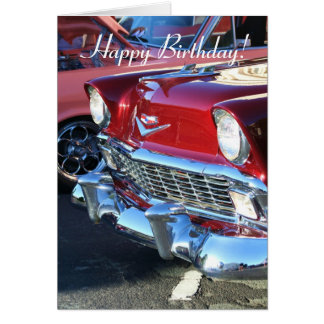 Happy Birthday Classic Red Car Greeting Card