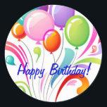 "Happy Birthday Classic Round Sticker<br><div class=""desc"">Sticker</div>"