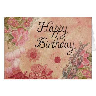 Happy Birthday Classic Violin Vintage Design Pink Card