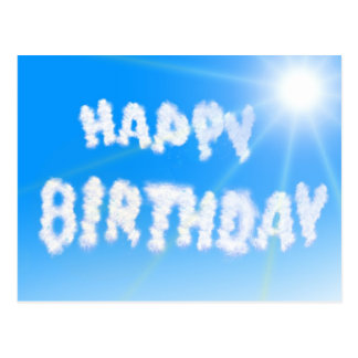Happy birthday clouds blue sky postcard