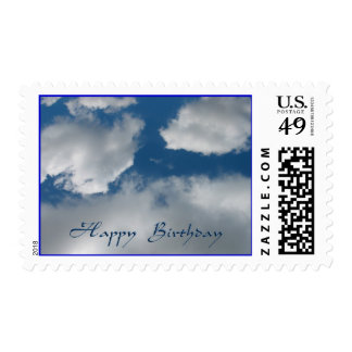 happy birthday clouds postage stamps