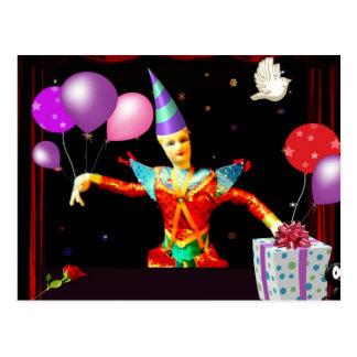 happy birthday clown1 postcard