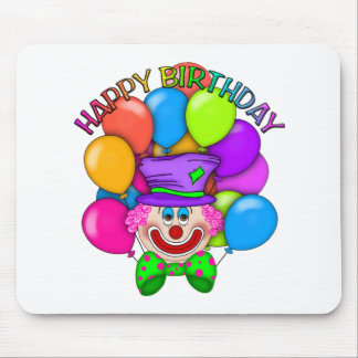 Happy Birthday Clown and Balloons Mouse Pad