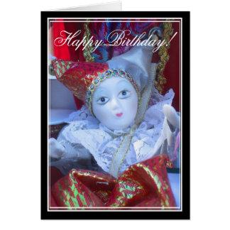 Happy Birthday Clown doll greeting card