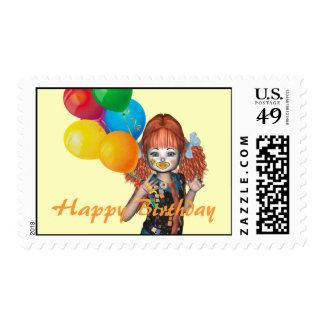 Happy Birthday Clown kid Ballooons Postage