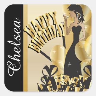 Happy Birthday Cocktail Girl | DIY Name | Gold Square Sticker
