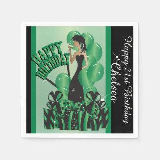 Happy Birthday Cocktail Girl   DIY Name   Green Paper Napkin