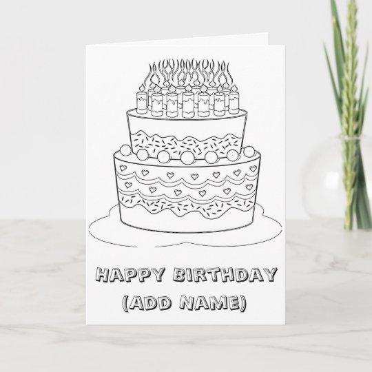 Happy Birthday Color It Yourself Birthday Card Zazzle