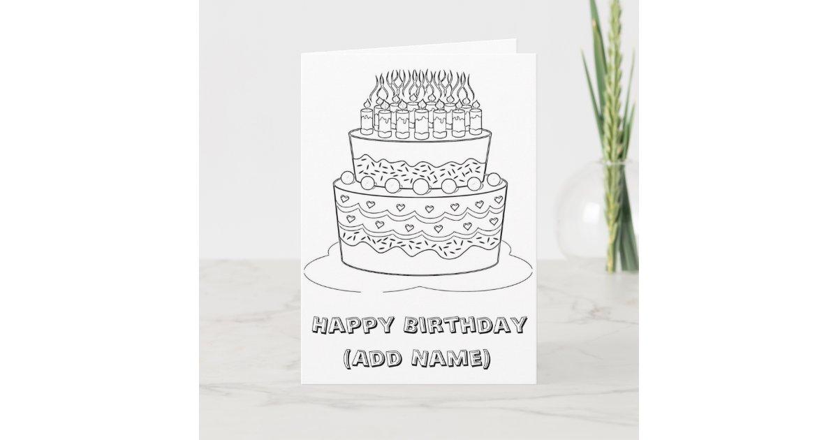 Happy Birthday Color it Yourself Birthday Card | Zazzle.com