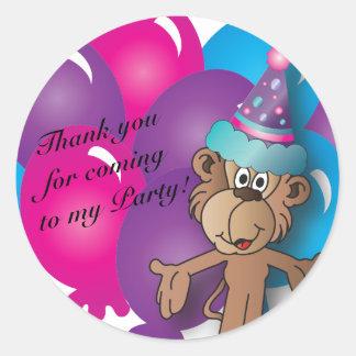 Happy  Birthday | Colorful Balloons & Monkey Classic Round Sticker