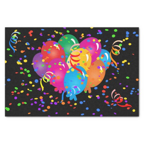 Happy Birthday Colorful Balloons on Black Tissue Paper