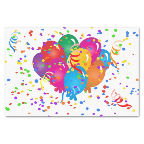 Happy Birthday Colorful Balloons on White Tissue Paper