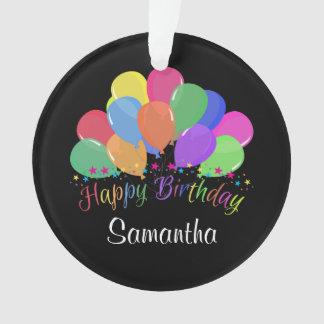 Happy Birthday Colorful Balloons Stars On Black