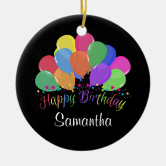 Happy Birthday Colorful Balloons Stars On Black Double-Sided Ceramic Round Christmas Ornament