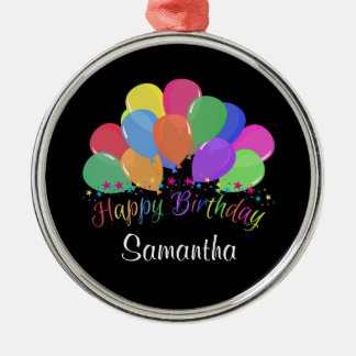 Happy Birthday Colorful Balloons Stars On Black Round Metal Christmas Ornament