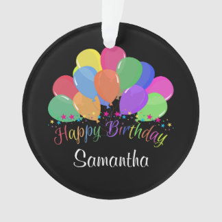 Happy Birthday Colorful Balloons Stars On Black Ornament
