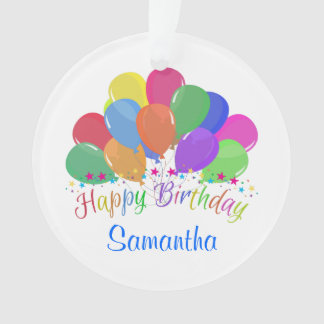 Happy Birthday Colorful Balloons Stars On White Ornament