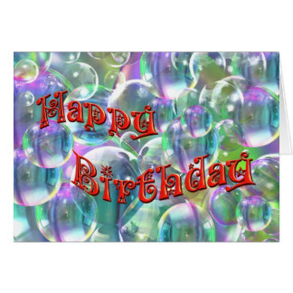 Happy Birthday Colorful Bubbles Greeting Cards