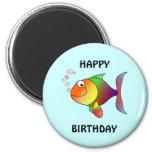 HAPPY BIRTHDAY, colorful cartoon fish, button Refrigerator Magnets