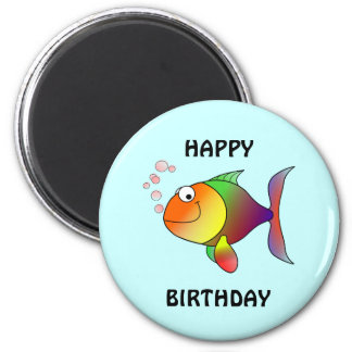 HAPPY BIRTHDAY, colorful cartoon fish, button 2 Inch Round Magnet