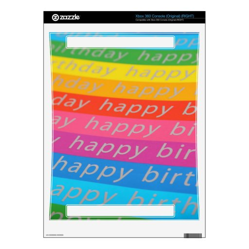 Happy birthday colorful stripes decal for xbox 360