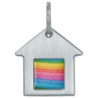 Happy birthday colorful stripes pet tag