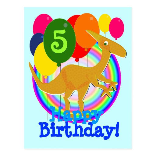 Happy Birthday Colors Balloons 5 Dinosaur Postcard