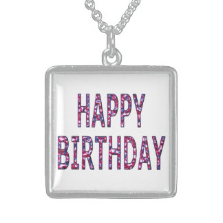 Happy Birthday Coloured Chrome Sterling Silver Necklace
