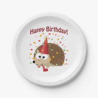 Happy Birthday! Confetti Hedgehog 7 Inch Paper Plate