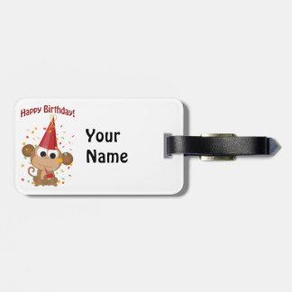 Happy birthday Confetti Monkey Tag For Bags