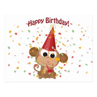 Happy birthday Confetti Monkey Postcard