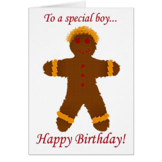 Happy Birthday cookie gingerbread man ginger boy Greeting Card