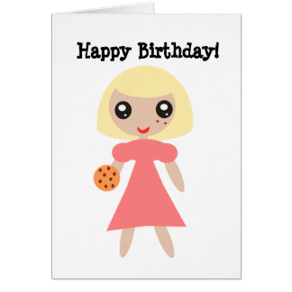 Happy Birthday Cookie Girl Card
