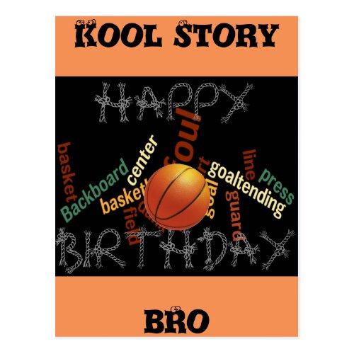 HAPPY  BIRTHDAY Cool Story Bro Basketball Sport Postcard