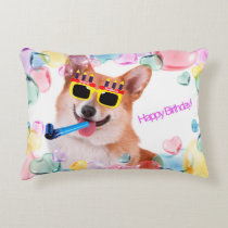 Happy Birthday Corgi Decorative Pillow