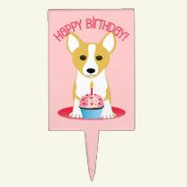 Happy Birthday Corgi Dog Cake Pick