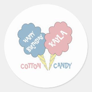 Happy Birthday Cotton Candy Classic Round Sticker