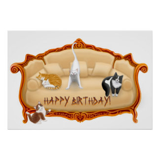Happy Birthday Couch Cats Print