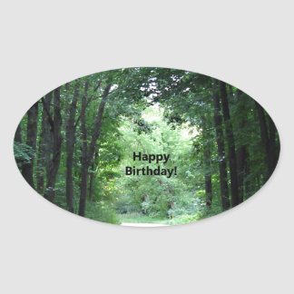 Happy BIrthday Country Road Oval Sticker