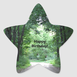 Happy BIrthday Country Road Star Sticker